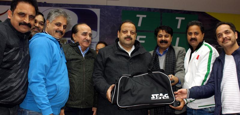 Members of J&K Table Association welcoming Devender Singh Rana, Provincial President NC during TT Nationals in Jammu.