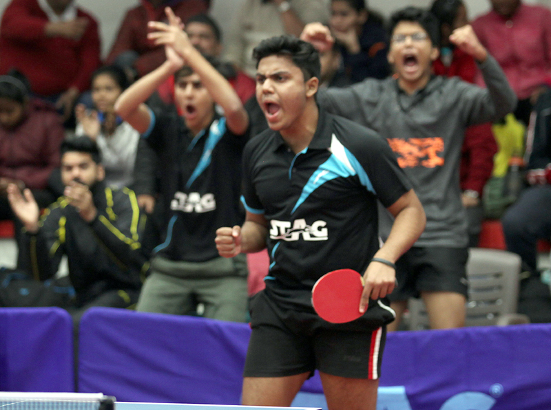 Jubilant paddler after trouncing rival during a match of 81st UTT Junior & Youth Nationals in Jammu.