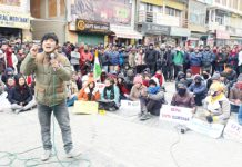 Ladakh students observing sit-in for highlighting demand of 6th Schedule. —Excelsior/Morup Stanzin