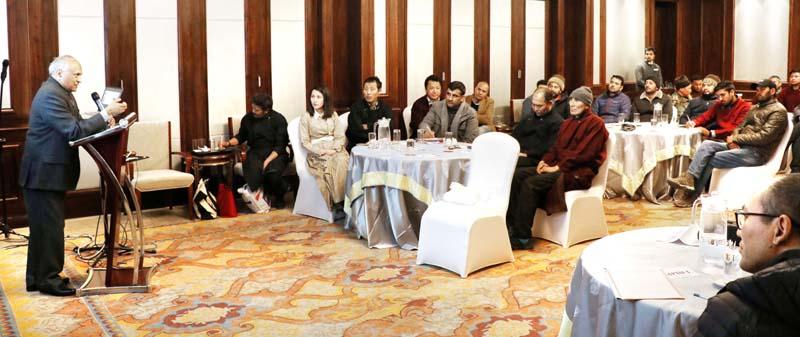 LG R K Mathur addressing Ist Mini Tourism Conclave at Leh.