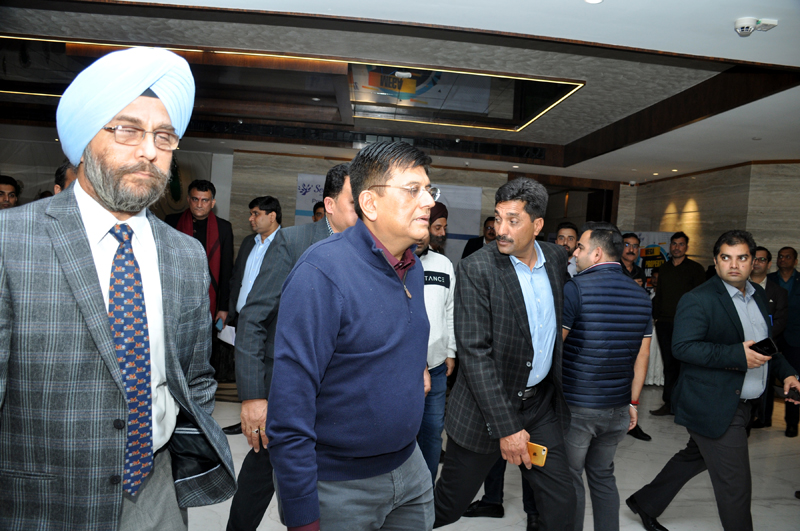 Union Minister Piyush Goyal arriving to meet industrialists on Sunday. -Excelsior/Rakesh