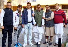 Injured NPP leader, Harsh Dev Singh being taken out of Pacca Danga Police Station in Jammu on Friday. — Excelsior/Rakesh