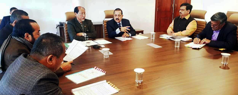 Union Minister Dr Jitendra Singh and Chief Minister Nagaland, Neiphiu Rio at a high level official meeting between the Ministry of North East and State Government of Nagaland, at Kohima on Sunday.