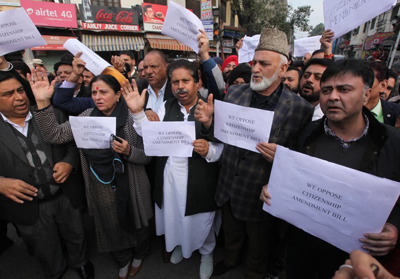 Cong leaders and activists staging protest against CAB and Amit Shah's remarks at Jammu on Wednesday. —Excelsior/Rakesh