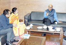 Advisor K K Sharma chairing a meeting in Jammu on Sunday.