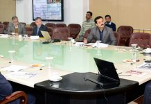 Lt Governor GC Murmu chairing a meeting at Jammu on Wednesday.