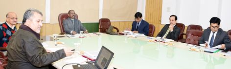 Lt Governor GC Murmu chairing meeting of Transport Department on Thursday.