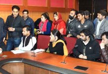 Advisor K K Sharma interacting with a deputation in Jammu on Friday.