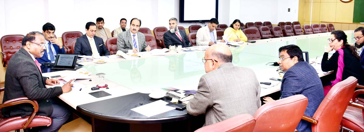 Lt Governor GC Murmu chairing meeting to review implementation of Social Welfare Schemes.