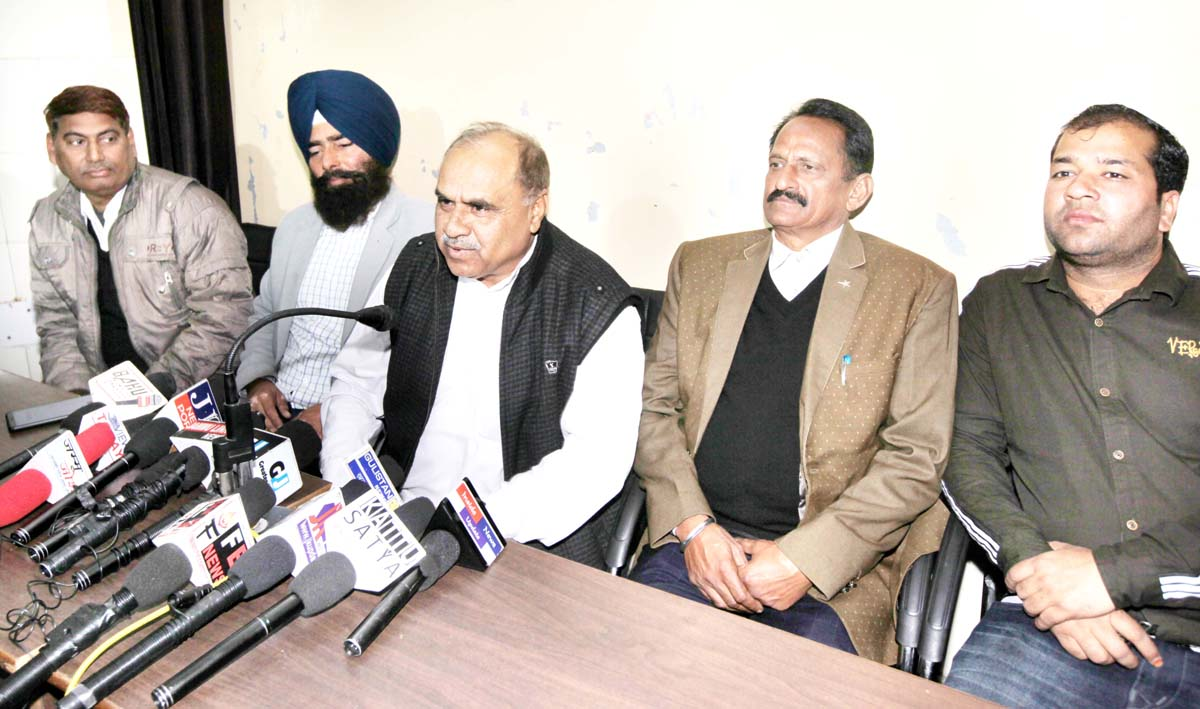Panchayat members addressing press conference in Jammu on Monday. -Excelsior/Rakesh