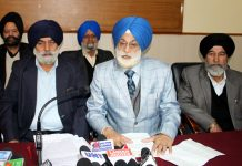 DGPC members addressing press conference in Jammu on Sunday. -Excelsior/Rakesh
