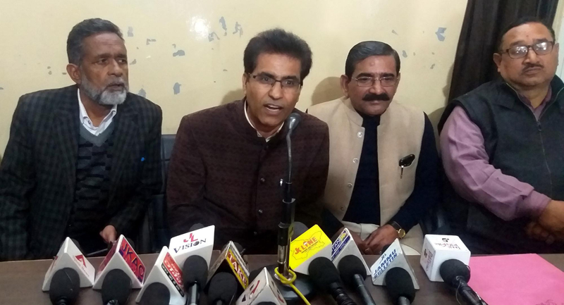 Office bearers of School Education Officers Association addressing a press conference on Sunday.