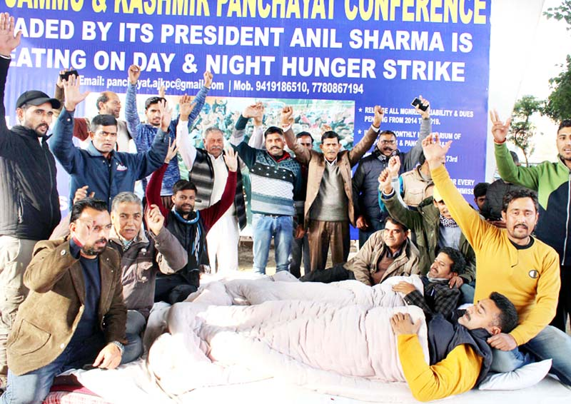 All Jammu Kashmir Panchayat Conference members staging protest in Jammu on Monday. -Excelsior/Rakesh