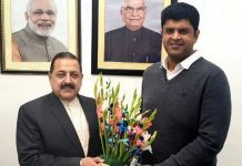 Deputy Chief Minister of Haryana, Dushyant Chautala calling on Union Minister Dr Jitendra Singh at New Delhi.
