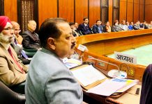 Union Minister Dr Jitendra Singh chairing the meeting of Northeast Consultative Committee in Parliament House annexe at New Delhi.