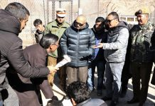 Lieutenant Governor Ladakh R K Mathur during visit to Pashmina Goat Farm in Leh on Sunday.