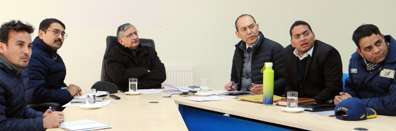 Advisor to LG Ladakh, Umang Narula chairing a meeting on Friday.