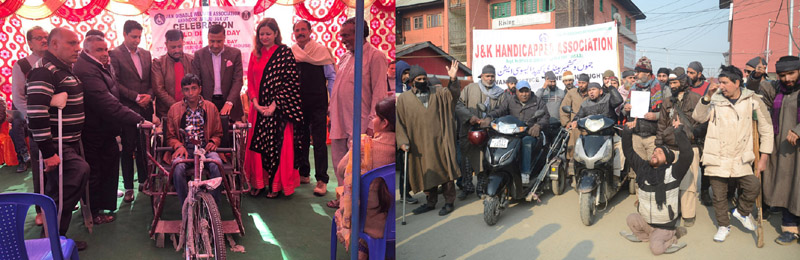BJP leader Sham Lal Sharma and others presenting tricycle to a disabled person (right) and members of J&K Handicapped Association raising slogans during protest at Srinagar (left).