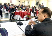 Union Minister Dr Jitendra Singh interacting with Provincial/ State Administrative Service officers who have been recently inducted into IAS, at New Delhi on Friday.
