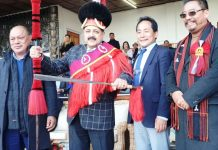 "Union Minister Dr Jitendra Singh at the annual ""Hornbill Festival"", at Naga Heritage Village near Kohima,Nagaland on Saturday."
