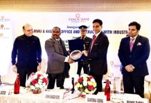 Lt Governor, G C Murmu being felicitated on the inaugural occasion of new ASSOCHAM office in Jammu on Thursday.