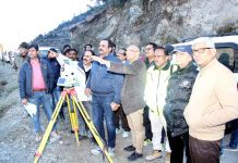 CMD NHPC Bal Raj Joshi and Chairman CVPPL Suresh Kumar reviewing construction work of a power project in Kishtwar.