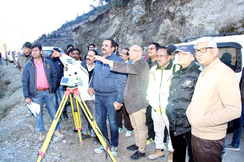 CMD NHPC Bal Raj Joshi and Chairman CVPPL Suresh Kumar reviewing construction work of a power project in Kishtwar.