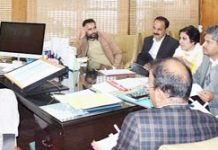 Principal Secretary Tourism chairing a meeting in Jammu on Thursday.