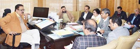 Principal Secretary Tourism chairing a meeting in Jammu on Thursday.