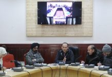 Finance Secretary Ladakh, Rigzin Samphel chairing a meeting at Leh on Friday.