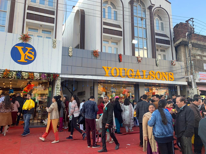 An exterior view of newly opened showroom of Yougal Sons at Dhar Road, Udhampur.