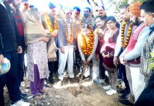 Former Minister, Sat Sharma kick starting upgradation work of Ajay Anand Park at Old Rehari on Sunday.