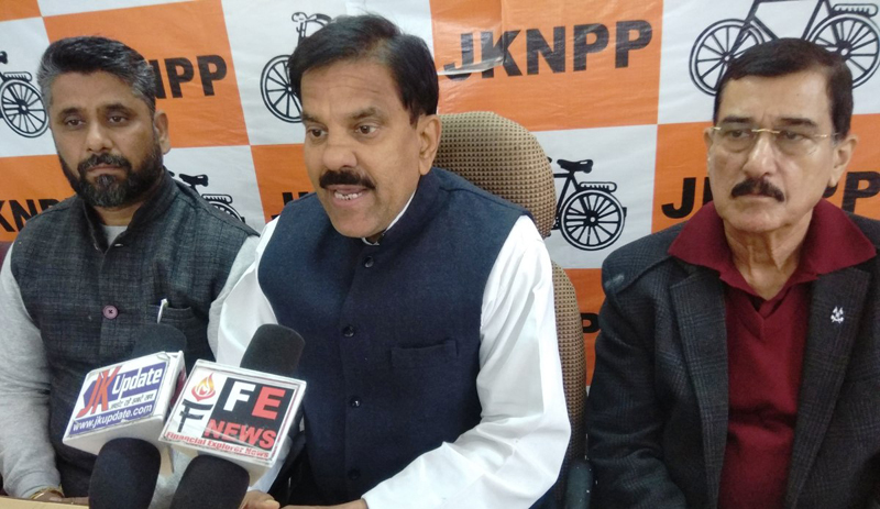 Chairman JKNPP Harsh Dev addressing a press conference at Jammu on Tuesday.