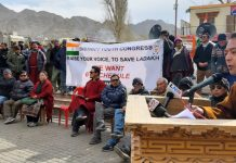 District Youth Congress president, Dorjay Gyaltsan addressing a gathering at Leh on Wednesday. — Excelsior/ Stanzin