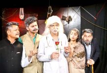 A scene from the play 'Aab -E -Hayaat' presented by Natrang in its Sunday Theatre.