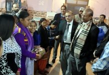 Justice Rajesh Bindal during visit to Nari Niketan at R S Pura on Friday.
