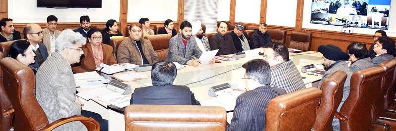 Financial Commissioner, Health and Medical Education Department, Atal Dulloo chairing a meeting on Monday.