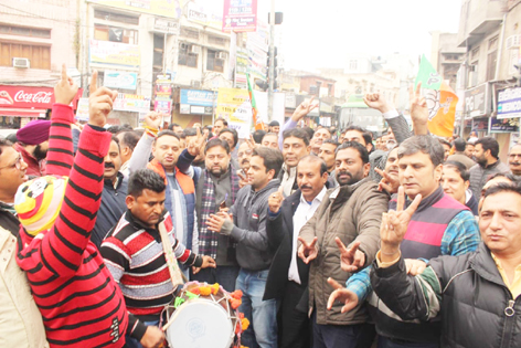 BJP activists celebrating passage of CAB in Jammu on Thursday.