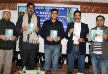 Dignitaries releasing book 'Sheen' in Jammu on Sunday. — Excelsior/Rakesh