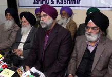All Parties Sikh Coordination Committee Kashmir members addressing a press conference at Jammu on Friday. -Excelsior/Rakesh
