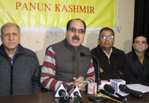 Leaders of Panun Kashmir addressing media persons in Jammu on Sunday. –Excelsior/Rakesh