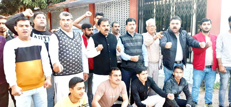NPP leaders and workers staging protest in Jammu on Sunday.