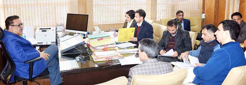 Principal Secretary Tourism, Navin Choudhary chairing a meeting in Jammu on Monday.