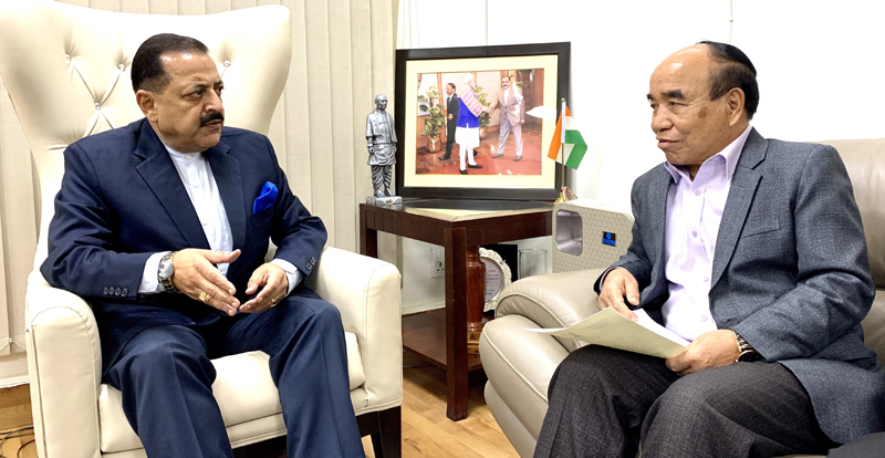 Chief Minister of Mizoram, Zoramthanga calling on Union Minister Dr Jitendra Singh  at New Delhi.