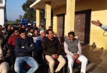 NPP leader Harshdev Singh addressing public meeting in Domana area of Jammu on Sunday.