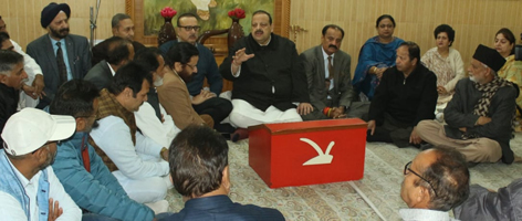 NC Provincial President Devender Singh Rana addressing party workers in Jammu on Monday.