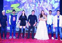 Bollywood actor Salman Khan, Music composer and Director Sajid Wajid, actors Warina Hussain, Saiee Manjrekar, Arbaaz Khan and director Prabhu Deva at the launch of Dabangg 3, song Munna Badnaam Hua, in Mumbai on Saturday night. (UNI)