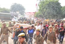 Body of Unnao rape victim for cremination under tight security at her village in Unnao on Sunday. (UNI)