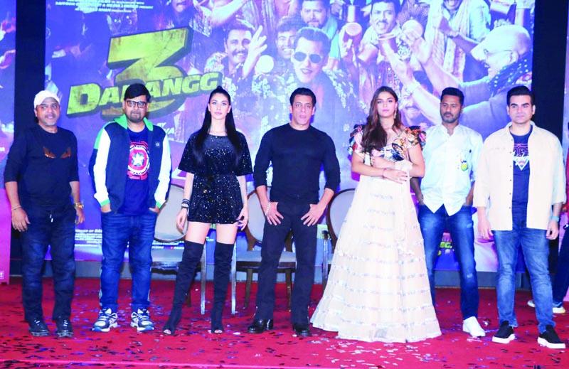 Bollywood actor Salman Khan, Music composer and Director Sajid Wajid, actors Warina Hussain, Saiee Manjrekar, Arbaaz Khan and director Prabhu Deva at the launch of Dabangg 3, song Munna Badnaam Hua, in Mumbai on Saturday night. (UNI)