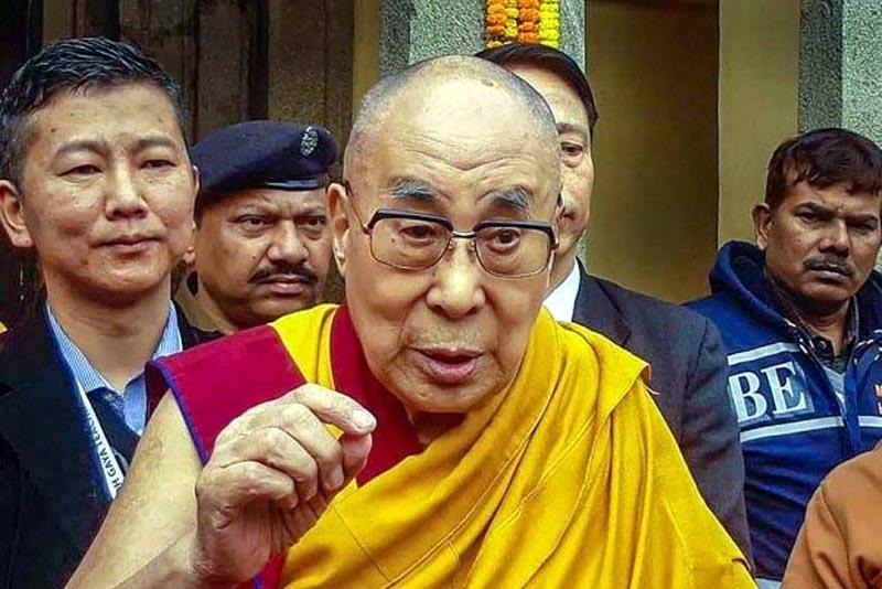 Tibetian spiritual leader Dalai Lama interacts with the media during his visit to the world heritage Mahabodhi temple in Bodhgaya.